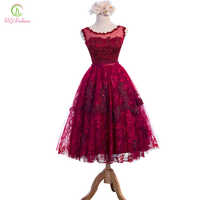 New SSYFashion Wine Red Lace Flower Beading Sleeveless Long Evening Dress Custom Bride Banquet Elegant Party Gown Robe De Soiree