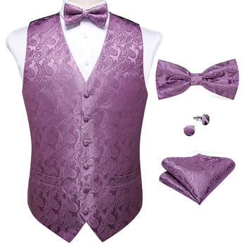 New Teal Green Paisley 100% Silk Formal Dress Vest Men Waistcoat Vest Wedding Party Vest Tie Brooch Pocket Square Set DiBanGu 31