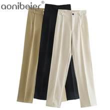 Aonibeier Za 2021 Femmes Décontracté Droite Unie Printemps Eté Taille Haute Pleine Longueur Beige Pantalon de Costume Femme Long Pantalons bas