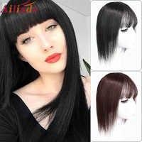 AILIADE-Peluca de pelo humano para mujer, peluca de seda transpirable con Clip en el pelo, peluquín con flequillo de Color Natural
