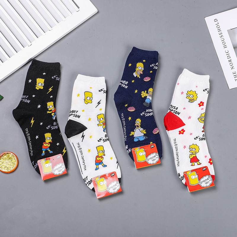 Novelty Funny Cartoon Simpson Pattern Socks Women Men Unisex Happy Socks Harajuku Hip Hop Combed Cotton Meias Calcetines Mujer