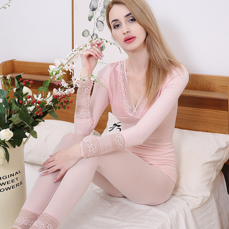Winter Autumn V-neck Sexy Lace Thermal Underwear Set Women Elastic Breathable Underwear Female Thermal Skin Warm Suit