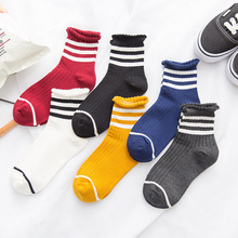 3Pairs New Winter Sock Fashion Women High Cotton Socks Harajuku Stripes Comfortable Solid Color Female Meias Streetwear