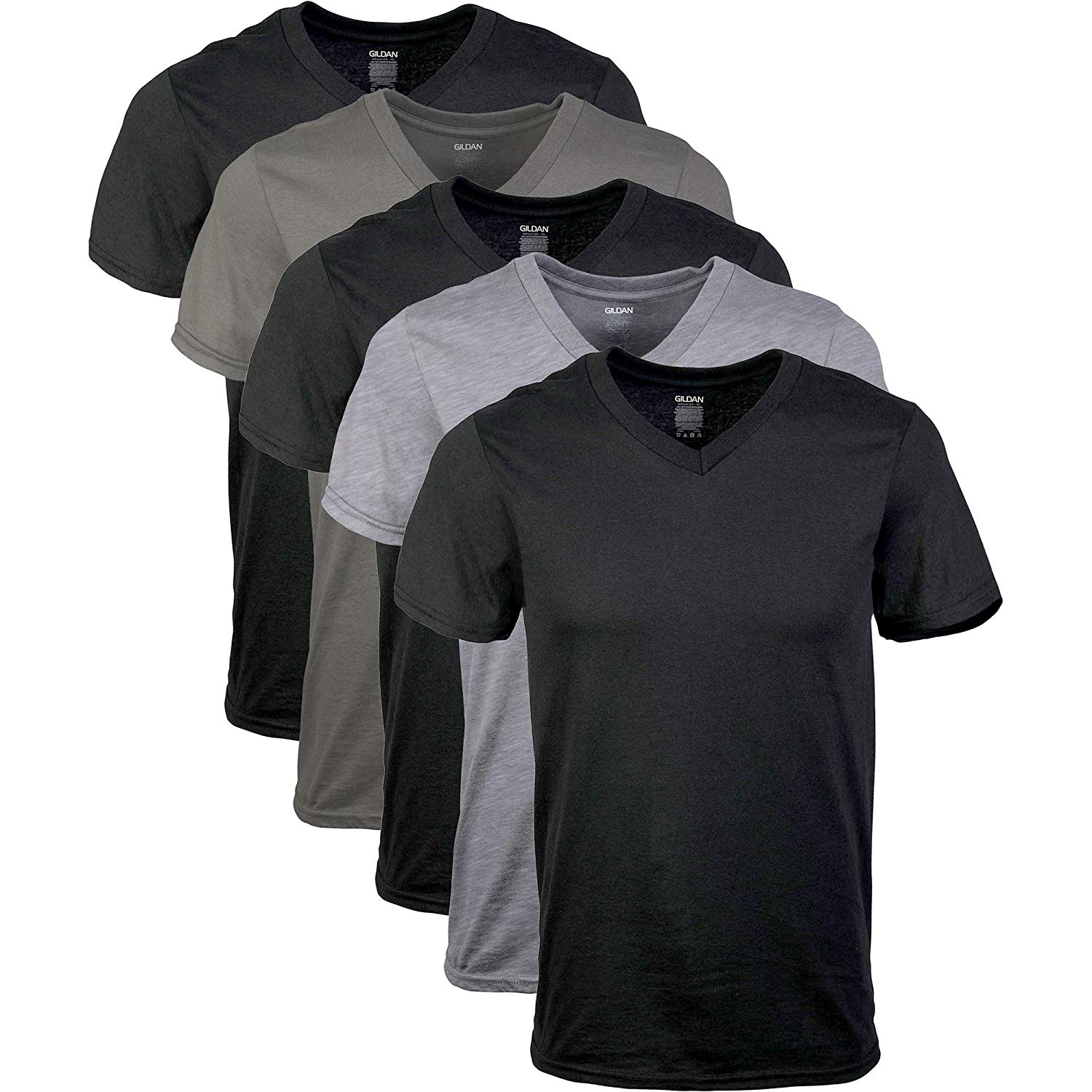 Men's Assorted V-Neck T-Shirts Multipack Casual  Cotton  O-Neck