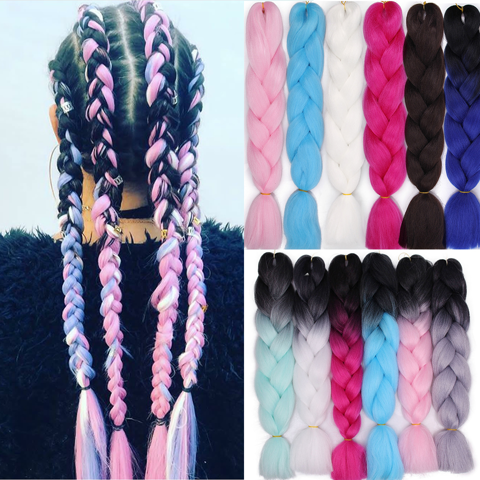 Ombre  Crochet  Braiding Hair Extensions For Women Synthetic  Braids Hair Crotchet Multiple Tones For African American