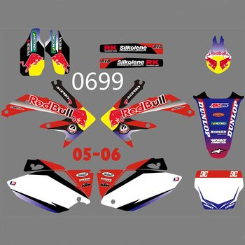 New Full Graphics Decals Stickers Custom Number Name Glossy Bright Stickers Waterproof for HONDA CRF450R CRF450 2005-2006