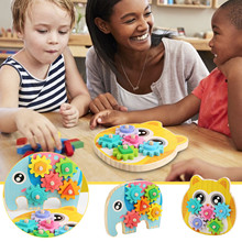 Montessori Toy Wooden Building Blocks Early Learning Educational Toys Gear Sleeve Column Geometric Shape Match Kids Puzzle Toys