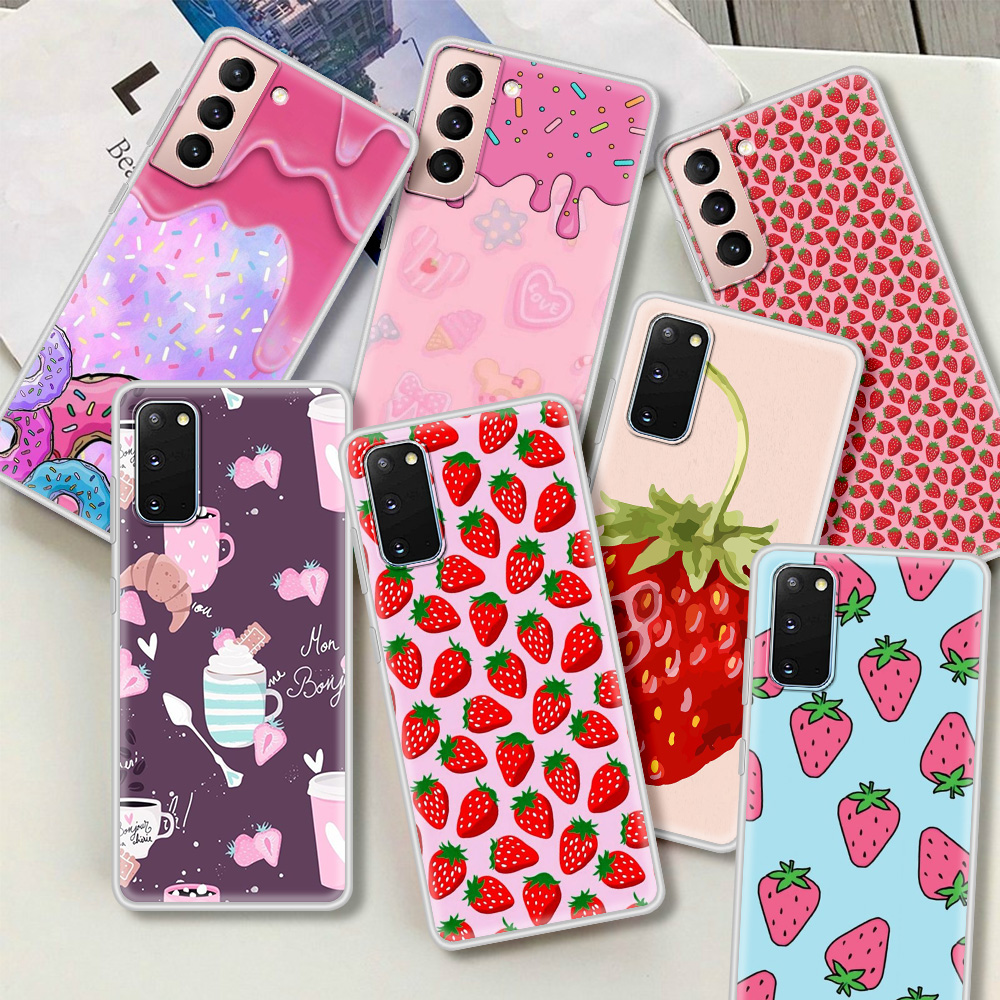 Case For Samsung Galaxy S20 FE S21 Ultra S9 S8 Plus S10 Note 20 10 Lite 9 Matte Frosted Phone Coque Funda Cute Pink Strawberry