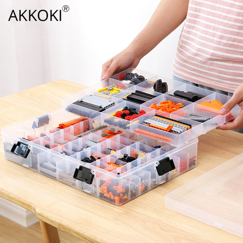 Transparent Adjustable Plastic Storage Box for Building Blocks Lego Toys Component Organizer Adjust Pills Tool Storage Case Storage Boxes & Bins     - title=