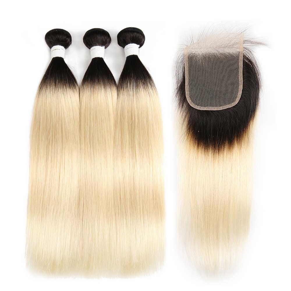 Бразильские прямые человеческие волосы, вплетенные с кружевной застежкой, X-TRESS, медовый блонд, 613, Омбре, не Реми, человеческие волосы, вплетенные пучки