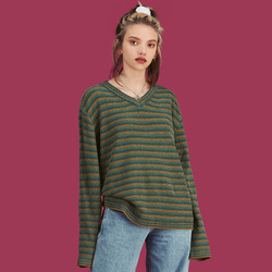 2019 Autumn And Winter New Style Unif Celebrity Style Europe And America Stripes Color V-neck Pullover Sweater 2