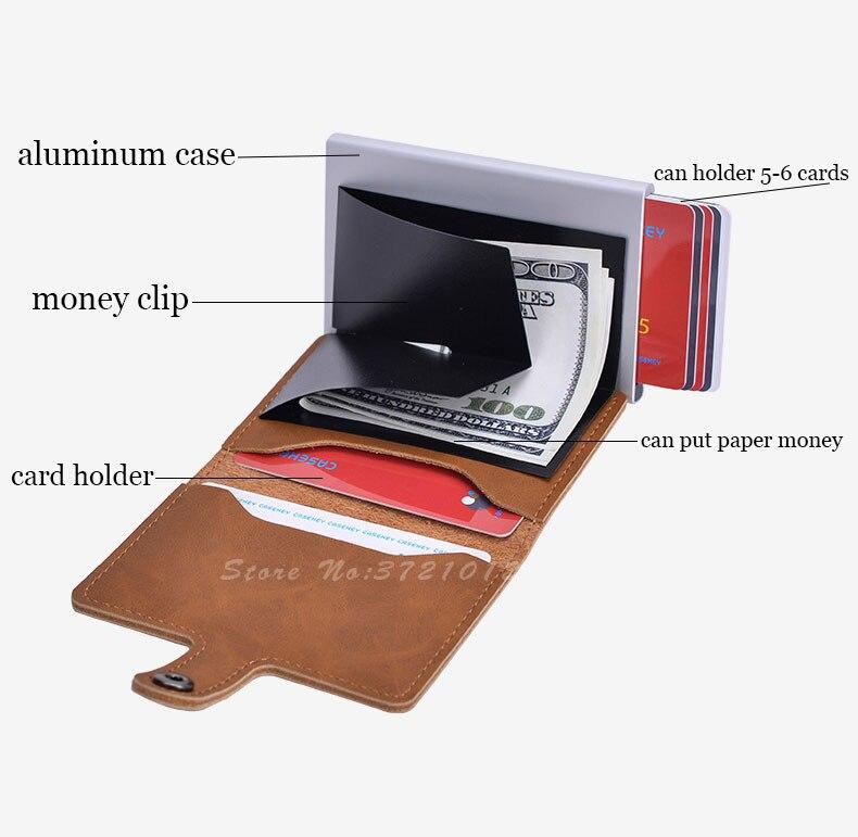 cartão de identificação do negócio automático masculino metal couro titular carteira