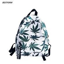 2019 New Women Canvas Backpacks Waterproof School Travel Bags for Teenagers Girls Laptop Maple Leaf Fashion Backpack