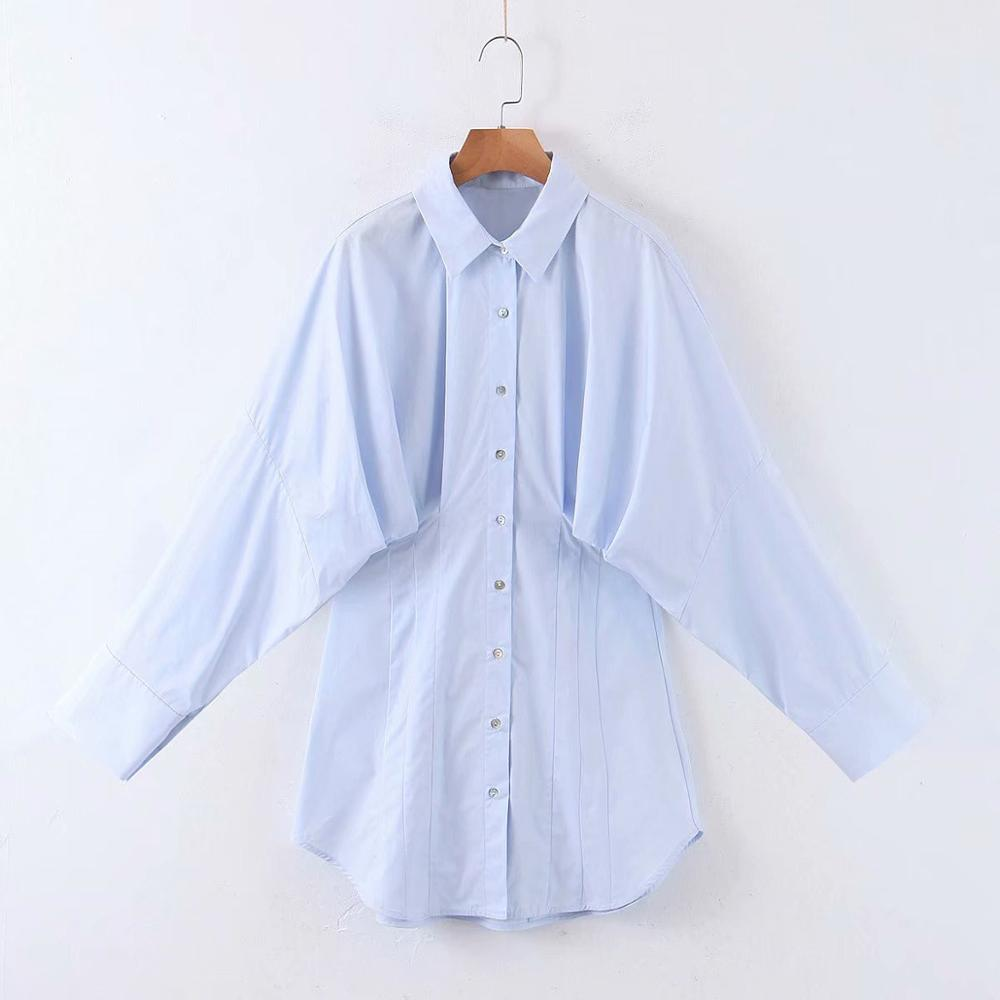Women Turn Down Collar Solid Pleat Casual Poplin Smock Blouse Ladies Chic Office Business Chemise Femininas Shirts Tops LS6442