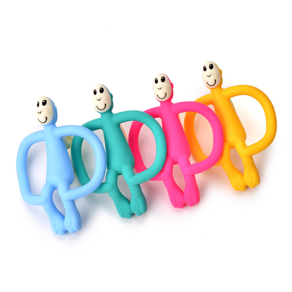 1pcs Baby Teether Soft Silicone Cute Funny Cartoon Monkey Toddler Molar Pain Relief Tool Kids Teether Baby Toy Food Grade