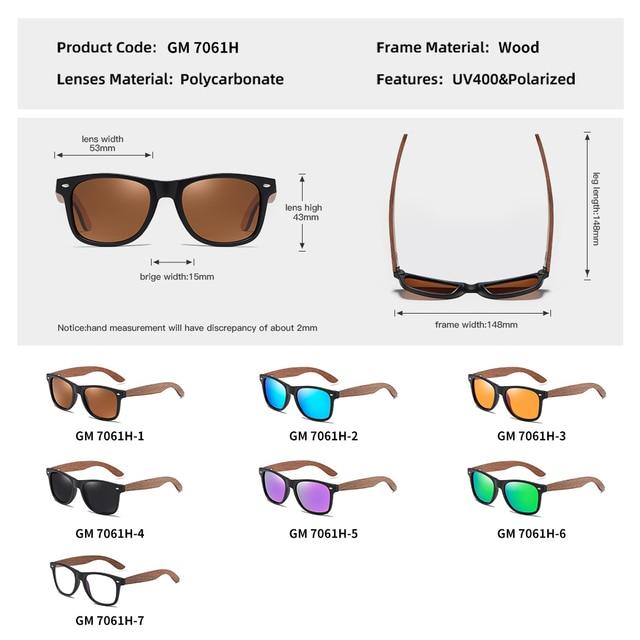 GM Environment-Friendly Retro Black Walnut Wood UV400 Polarized Bamboo Sunglasses Men's Fashion Trendy Anti Blue Lens S7061h 8