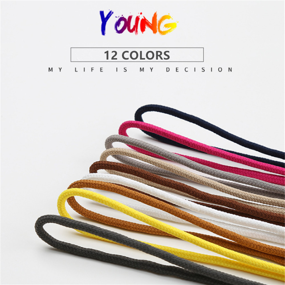 1Pair Solid <font><b>12</b></font> Colors Round Shoelaces Polyester Classic Martin Boots Shoelace Casual Sports Boots Shoes Lace <font><b>80</b></font> cm 160 cm image