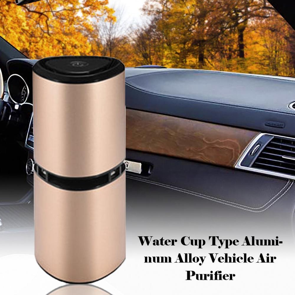 Water Cup Car Air Purifier Aluminum Alloy Car Air Purifier USB Charging Car Smart Negative Ion Air Purifier