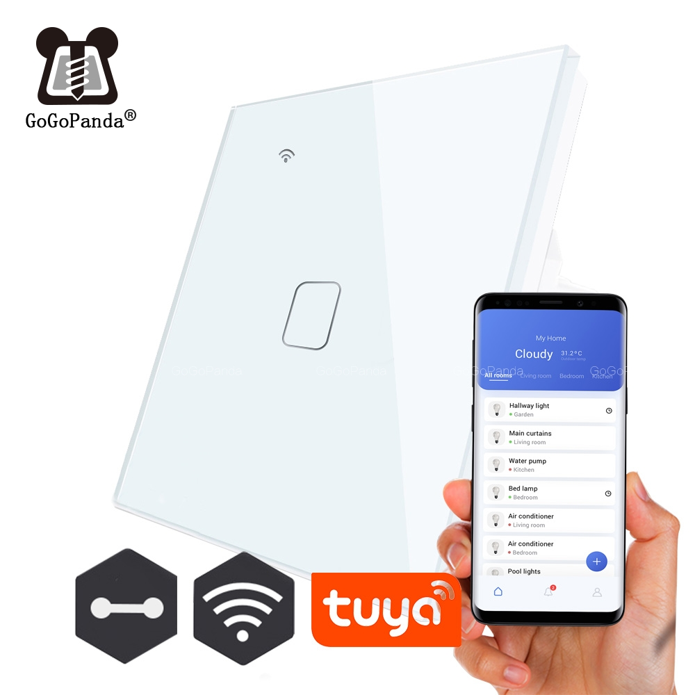EU Standard 1 Way Wifi Remote Control Type Wall Light Controller Smart Home Automation Touch Switch Waterproof Fireproof TUYA