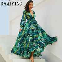 Summer Long Sleeve green leaf print Dress Boho Beach Maxi Dress Casual V Neck Belt Lace Up Tunic Draped Plus Size Dress Vestidos