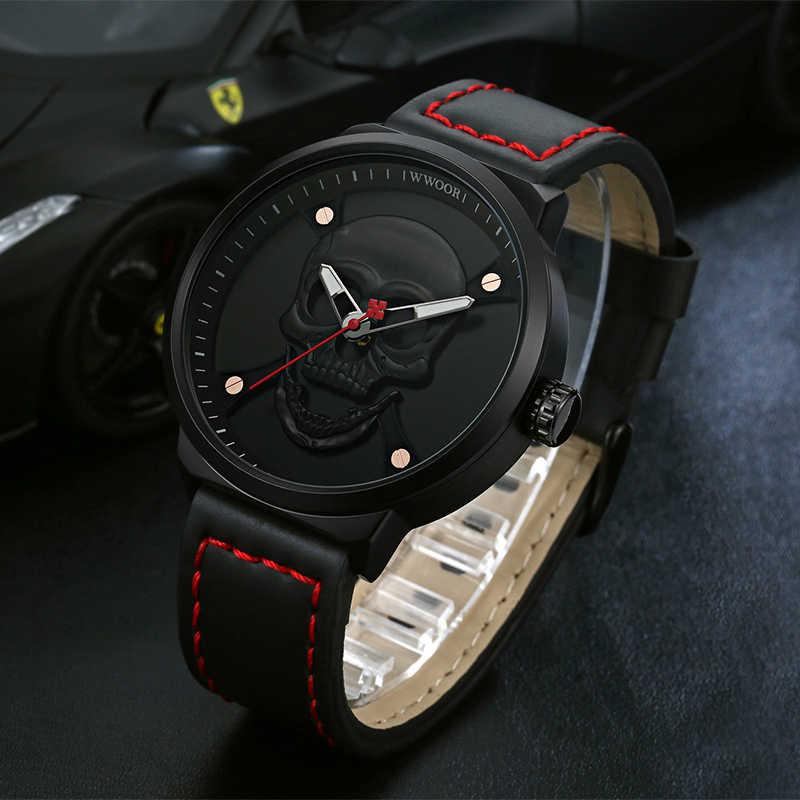 WWOOR Новая мода Для мужчин наручные часы, спортивные кварцевые часы с хронографом Для мужчин Водонепроницаемый часы с кожаным ремешком, ремень из сетки Для мужчин часы подарок