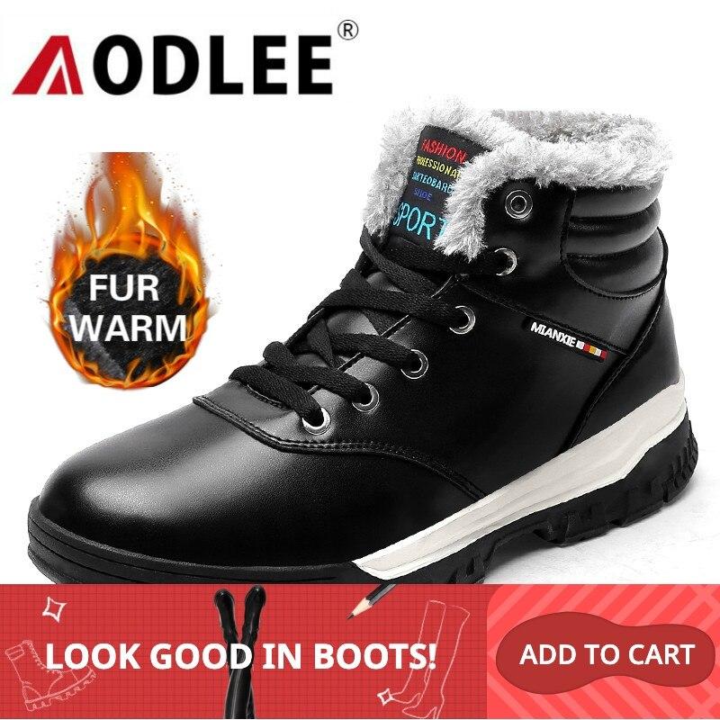 AODLEE Men Boots Winter Plush Fur Warm Snow Boots Men Sneakers Boots Men Fashion Ankle Boots Casual Shoes Size 48 Botas Hombre