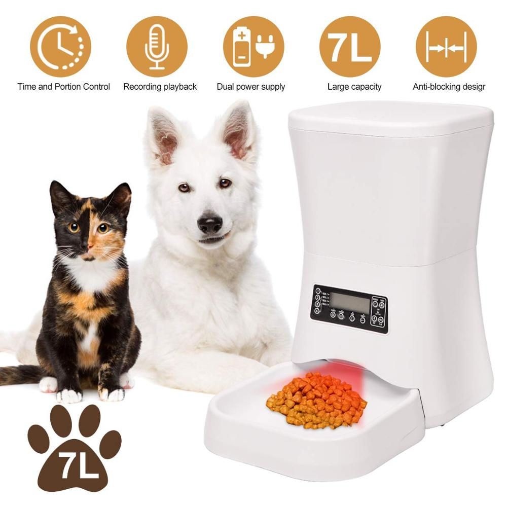 Nettoyage Armoire En Bois us $88.88 30% off|iseebiz 7 l automatic dog feeder cat feeder food  dispenser for cats and dogs voice recording, timer programmable 4 meals one  day|dog