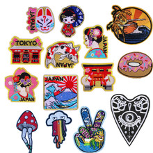 New Arrival Tokyo Japan Traditional women Fox face Sea wave Patches Cute Iron On Appliques For Kids Clothes 3D Diy Accessories(China)