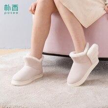 купить POSEE Indoor Snow Boots Winter Fur Ankle Female Bowtie Warmer Plush Suede EVA Flat Slip On Fashion Platform Ladies Shoes 3512 дешево