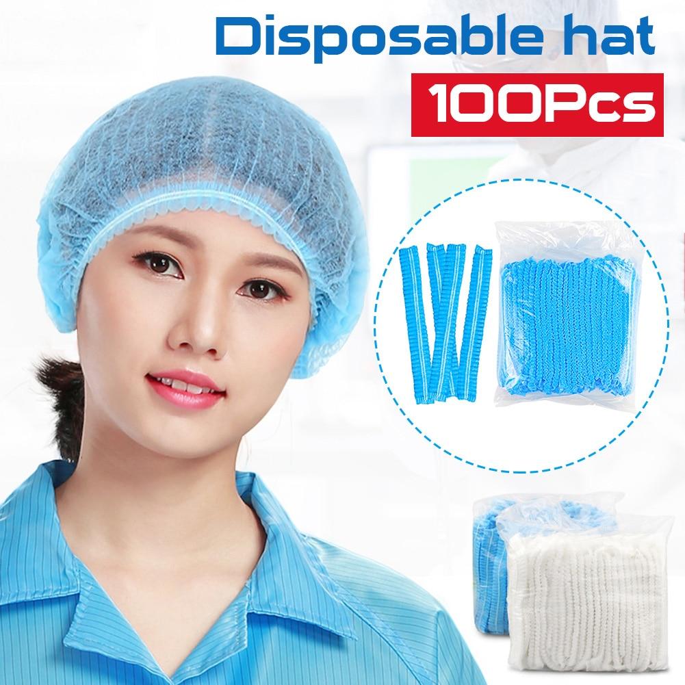 100 Pcs Non-woven Disposable Cap Thick Non-woven Surgical Cap Dustproof Hat Hood Beauty Salon Protection Cap Shower Mushroom Cap