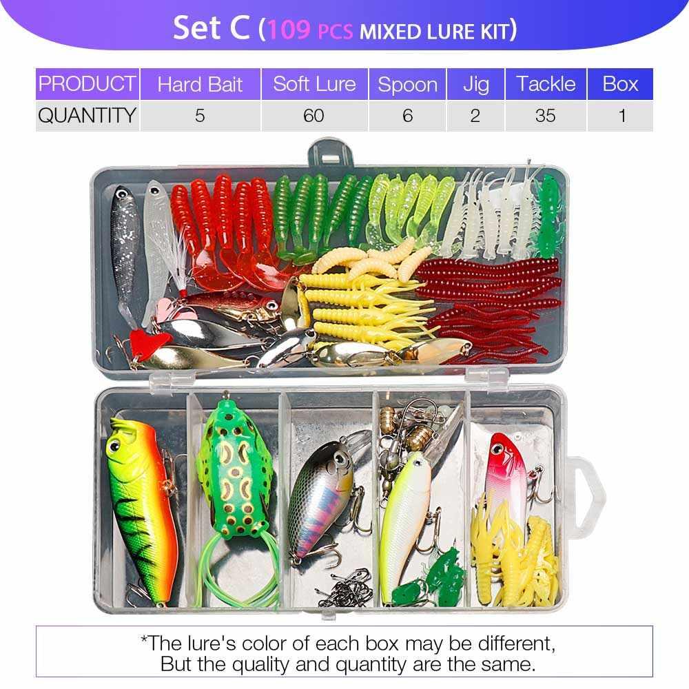 マルチ釣りルアーセットwobblers混合色ルアーキット人工ハード餌ミノー金属ジグスプーンタックル