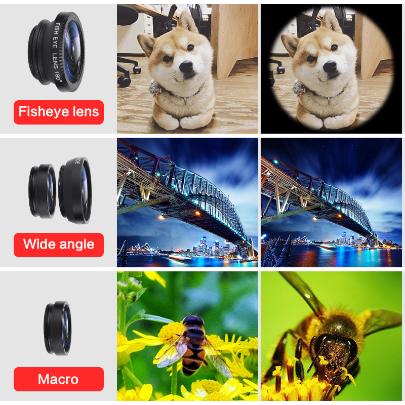 Universal 3 In 1 Wide Angle Macro Fisheye Lens <font><b>Camera</b></font> Kits Selfie Mobile <font><b>Phone</b></font> Fish Eye Lenses Fit For All Cellphone <font><b>Accessories</b></font> image