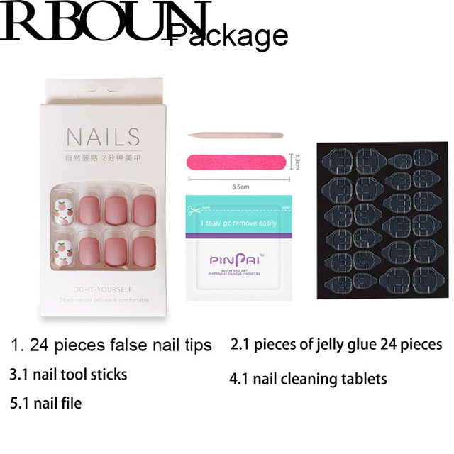 Nail Tip Fake Art Press on Nails with Glue Designs Set Full Artificial Short Packaging Kiss False Clear Cover Tipsy Stick Square 2