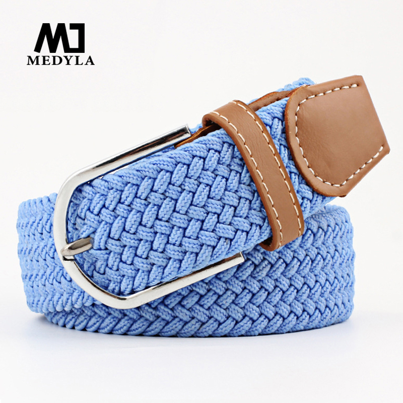 Unisex Woven Elastic Belt High Quality Fashionable For Women Knitted Buckle Adjustable Belt Male Canvas Belts For Jeans 24 Color