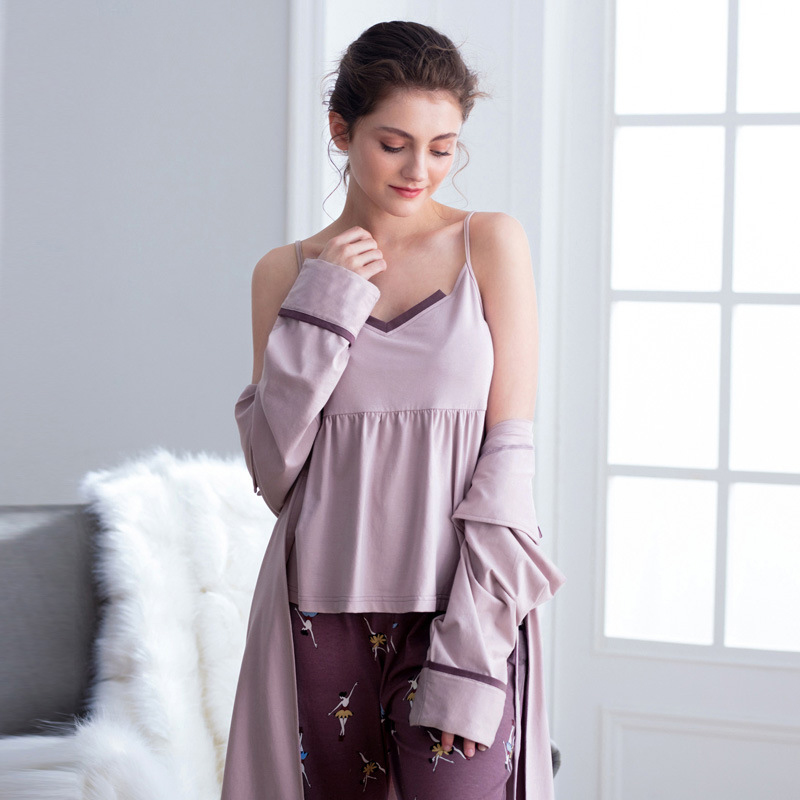 Cotton Pajamas Autumn Winter Women's Warm Casual 3 Piece Set Solid Color Sling Printed Trousers Lapel Long Nightgown Women's 22