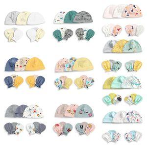 1 комплект, шапка для маленьких мальчиков и девочек, перчатки унисекс, мягкая хлопковая шапка, перчатки с защитой от царапин, аксессуары для ...