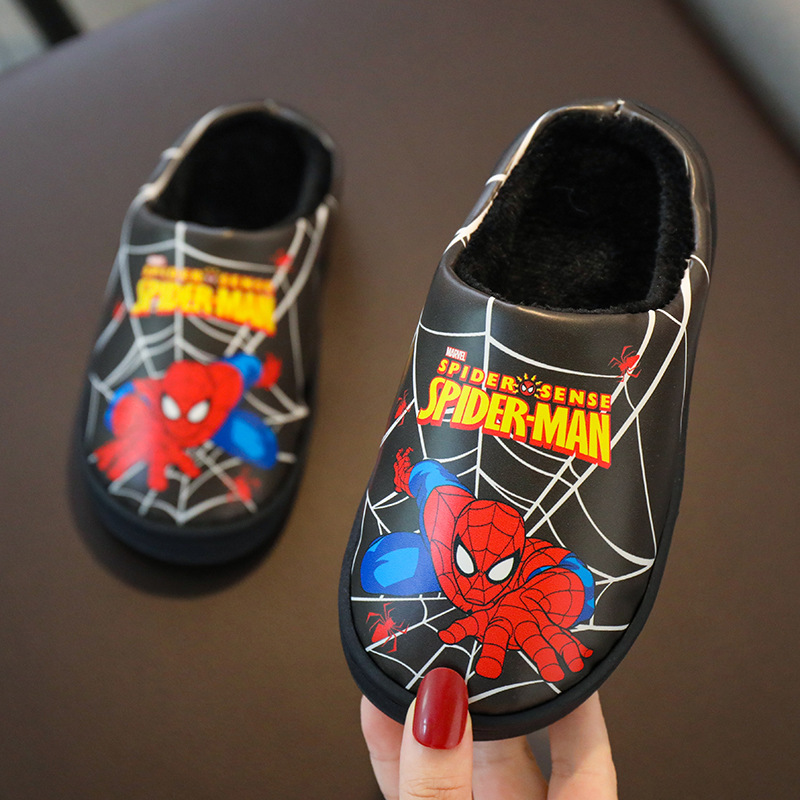 Winter Cartoon Spiderman Kids Warm Slippers Children Boy Cotton Fur Plush Indoor Home Embroidery Shoes Baby Girl Cute Flip Flops
