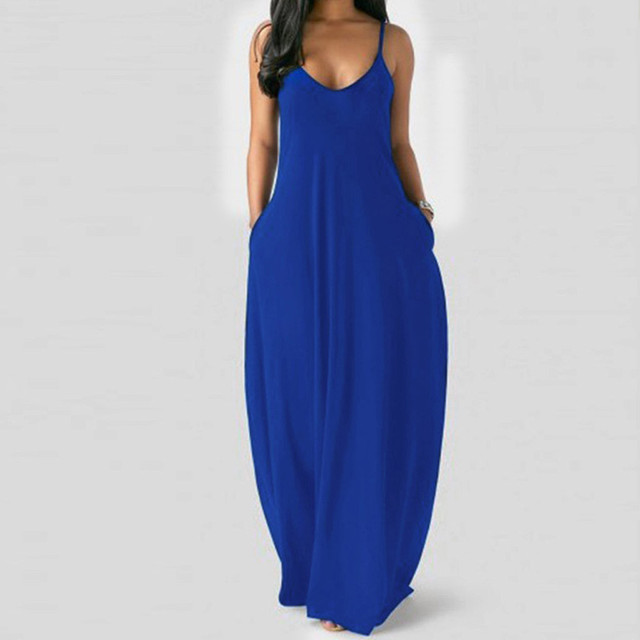 Women's Summer Long Dress Loose Sexy Spaghetti Straps Sleeveless Pockets Solid Color Maxi Dress Casual Plus Size Beach Dresses # 5