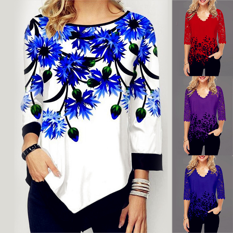 Summer 2020 Cotton Fashion Women Lace Spring Ruffles Crochet Tops Tees Plus Sizes Vintage Femme Shirts Blouse Befree Boho Casual(China)
