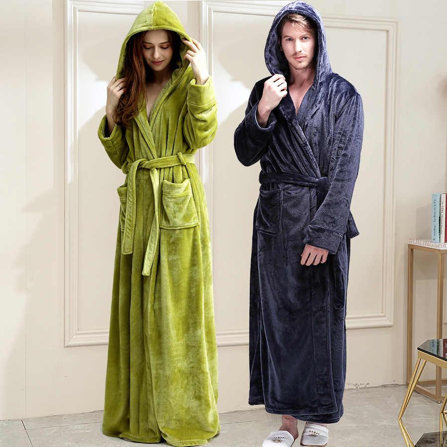 Большой размер, мужской зимний теплый халат, удлиненный фланелевый банные  мужские халаты с капюшоном, женский свободный домашний халат - AliExpress