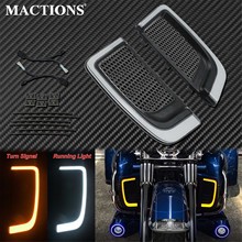 Motorcycle LED Turn Signal Running Fairing Lower Grills Light Black For Harley Touring Tri Road Street Electra Glide FLHTCU