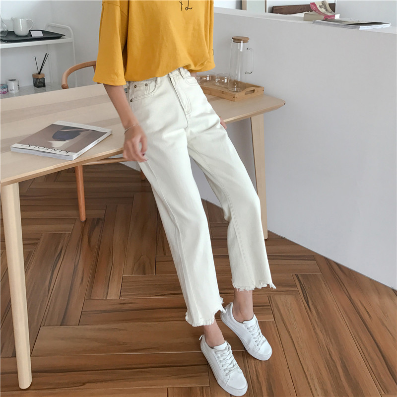 2019 New Women Jeans For Women Straight Cotton Beige Denim Jeans Harem Mom Jeans Casual Loose Trousers