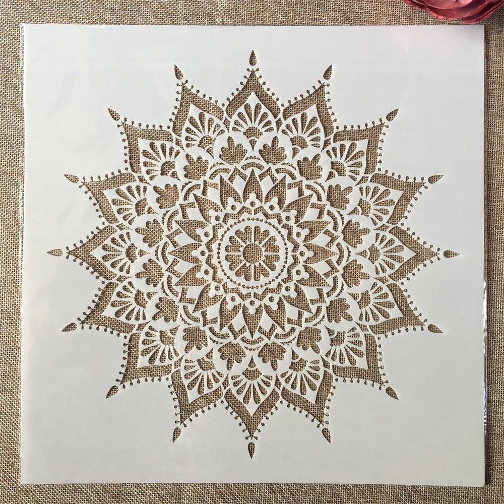 12*12inch Geometry Mandala Sharp Angle DIY Layering Stencils Painting Scrapbook Coloring Embossing Album Decorative Template