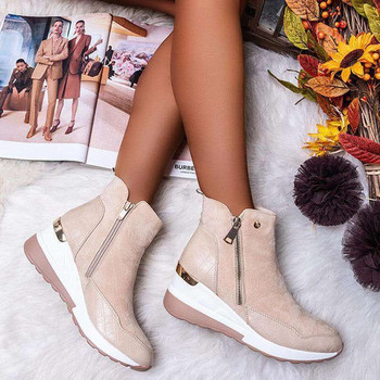 Winter New Women's Casual Flat Leather Fashion Boots Side Zipper Round Toe Shoes Boots Platform Shoes Women Chunky Sneakers winter women boots female round toe long riding motorcycle boots shoes stylish flat flock shoes winter snow boots shoes
