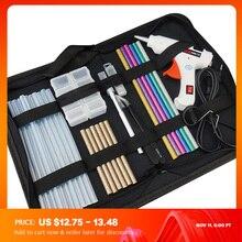 משלוח חינם 6 ב 1 דבק אקדח סט חשמלי חום חם להמיס מלאכות תיקון כלי מקצועי DIY 110 240V 20W עם מקלות