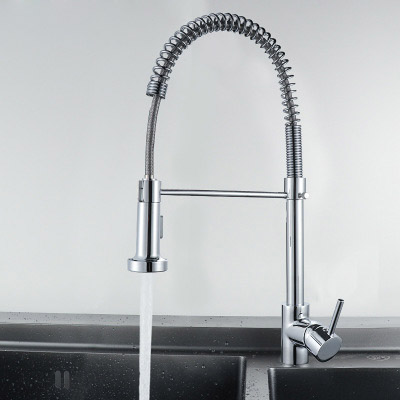 Kitchen faucet brass faucet kitchen sink single rod pull out spring faucet hot water cold water crane