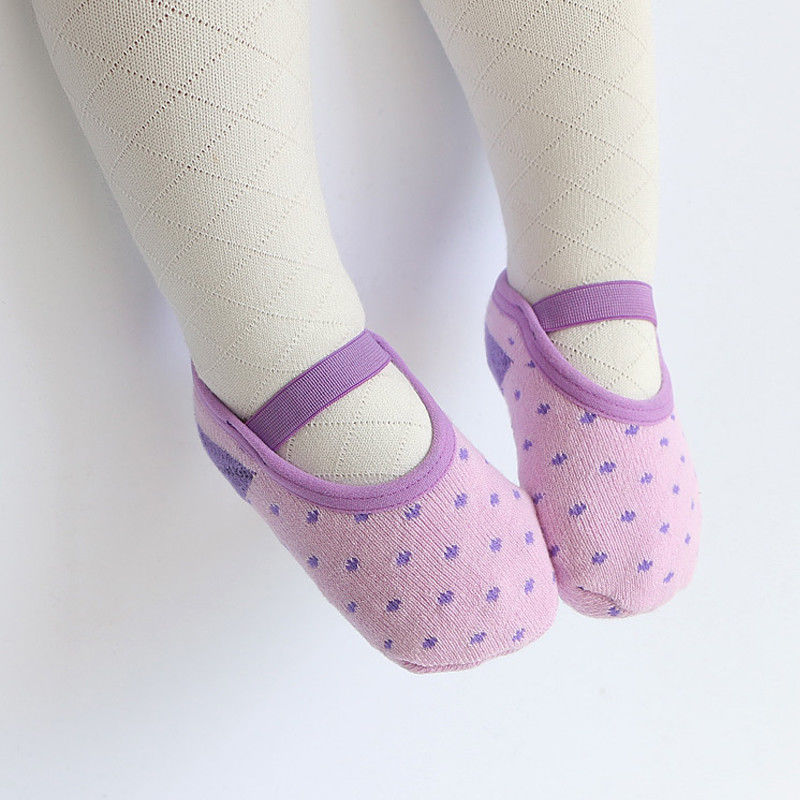 New Baby Girl Anti-slip Cotton Trim Socks Infant Toddler Newborn Elastic Band Dots Slipper Shoes Boots