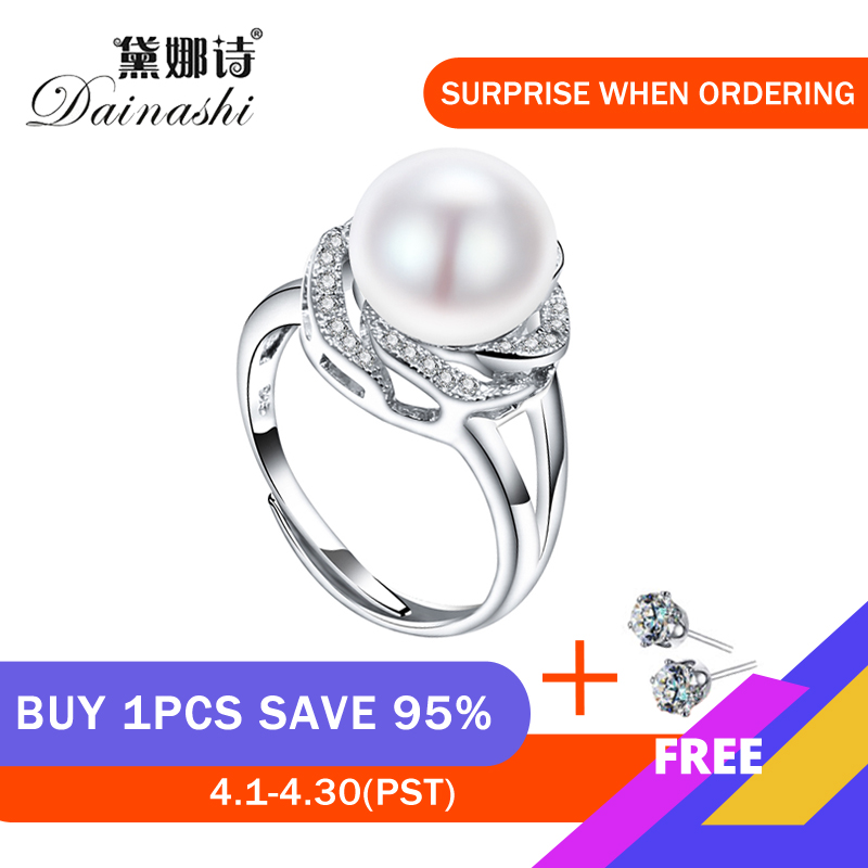 925 Sterling Silver Jewelry On Sale Big Natural Pearl Rings For Women Stone Ring Adjustable White/pink/purple Pearl For Women