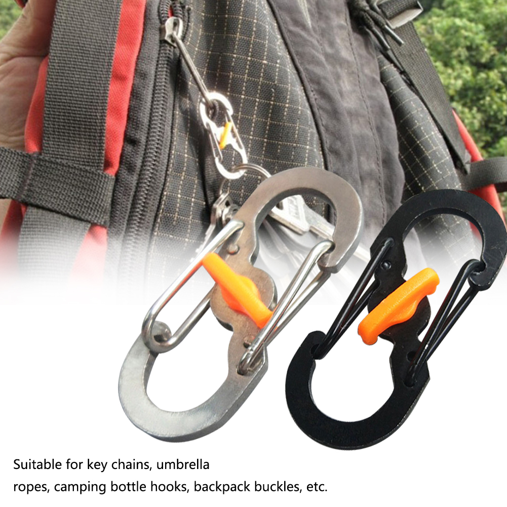 5Pcs Outdoor Travel Durable Key Chain Padlock Accessories Slidelock S Shape Anti Theft Camping Ring Clip Buckle Hanging Metal