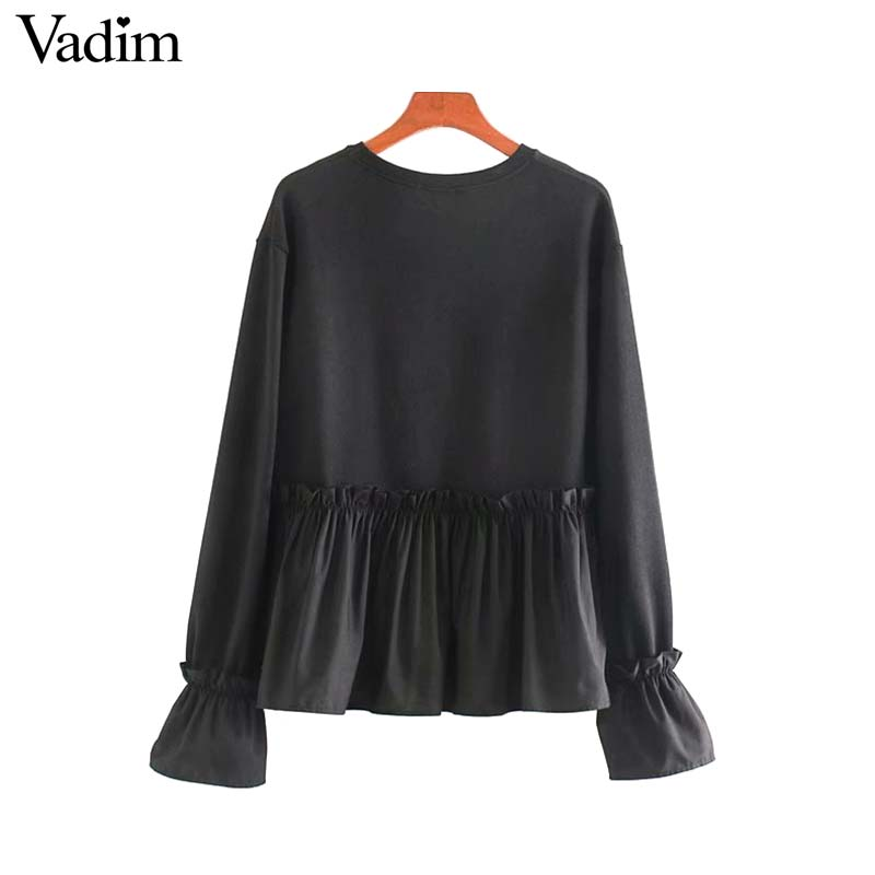 Image 2 - Vadim women chic oversized black sweatshirts long sleeve winter warm design pullovers female loose outwear casual tops HA601Hoodies & Sweatshirts   -